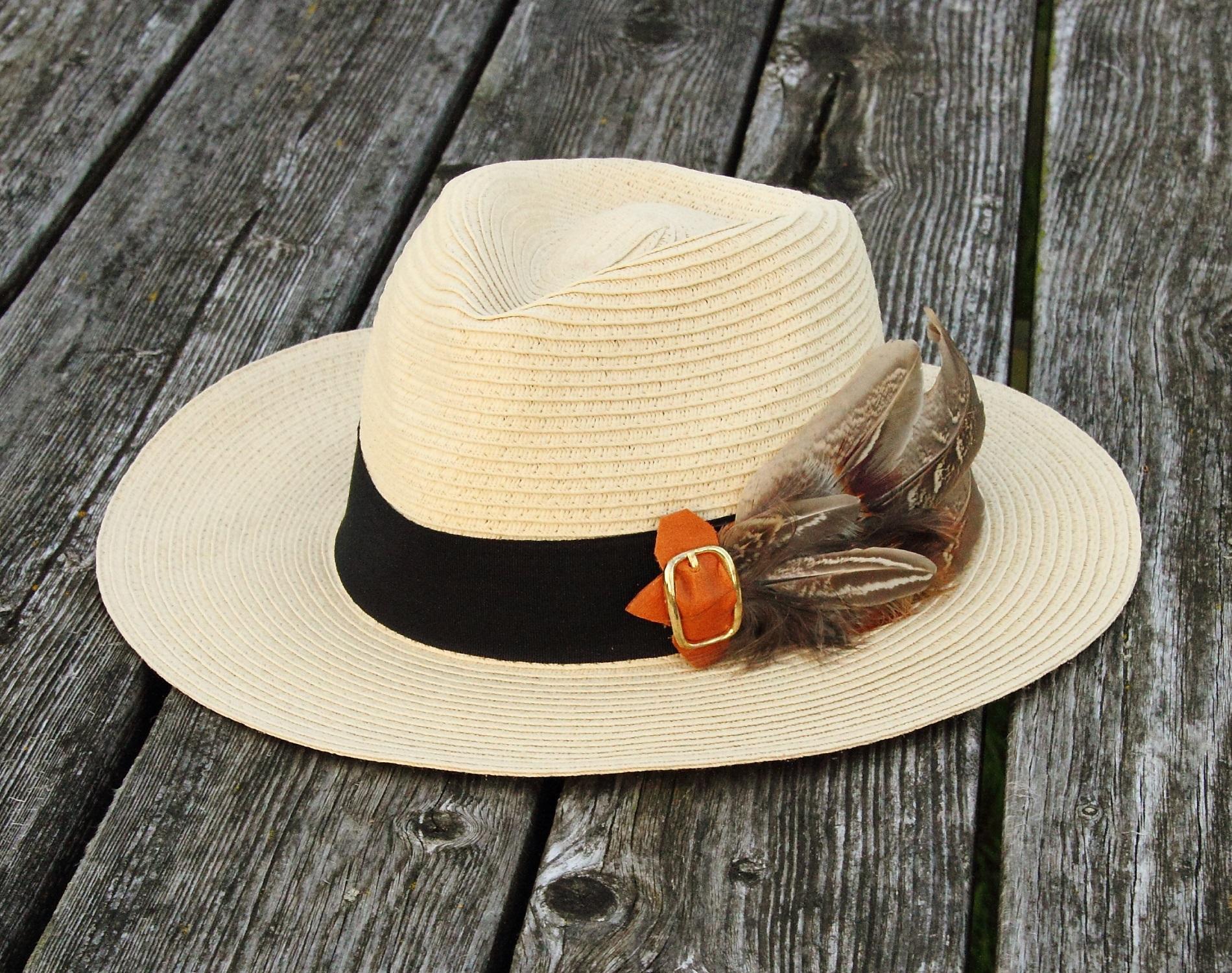 Harriet Hoot Feather Panama Hat
